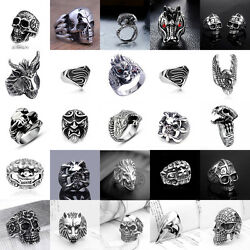 Fashion Men#x27;s Stainless Steel Silver Gothic Punk Charm Biker Finger Ring Jewelry