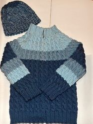 LOT Handmade Knitted Cable Sweater Pullover & Hat 5 6 7 CASCADE YARN WOOL BLEND