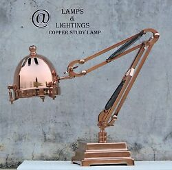 FABULOUS FRENCH ART DECO ANTIQUE MODERNIST COPPER AND BRASS LAMP  LAMPE