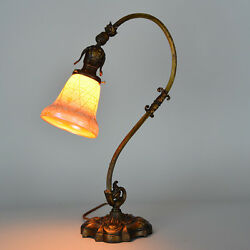 Art Deco Desk Lamp with Art Glass Threaded Overlay Shade