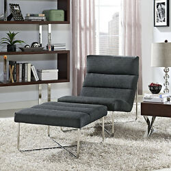 Modern Design Accent Lounge Set Chair & Ottoman in Gray Fabric Cushions