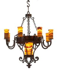 Spanish Galleon Low Rise  Hand Crafted Wrought Iron Chandelier 8 Lights