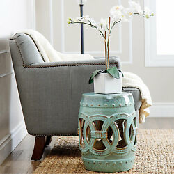 Moroccan Teal Ceramic Garden Seat Stool Side Table End Table Plant Stand