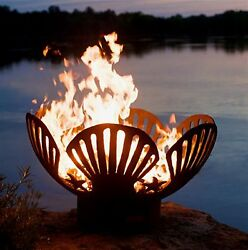 Fire Pit Art 36-in W Iron Oxide Patina Steel Wood-Burning Fire Pit Home Heater