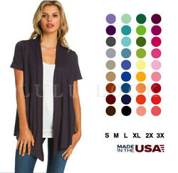 Women's Solid Short Sleeve Cardigan Open Front Wrap Vest Top Plus USA (S-3X)  $7.99