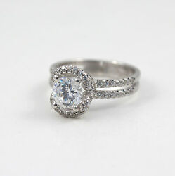 STUNNING 2.25 CARAT F VS1 ROUND DIAMOND RING 18 K WHITE GOLD WITH ACCENTS