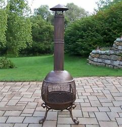 Oakland Living Cast Iron Outdoor Wood-Burning Fireplace Home Outdoor Accessories