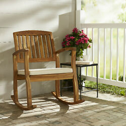 Rocking Chair with Cushions Outdoor Porch Acacia Wood Pad