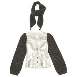 WOOL & SILVER LEATHER JACKET CHANEL WITH SCARF SHAWL 36 FR 40 IT