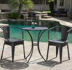 Lawn Furniture Table and Chairs Bistro Set Indoor Patio 3 Piece Black Metal