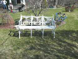 Antique Neoclassical Cast Iron Lyre Back Bench Circa 1920