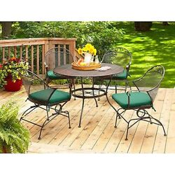 Patio Dining Set Outdoor Furniture Wrought Iron Table Chairs Cushions Porch Deck