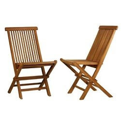 Teak Folding Chair Lounge Patio Chairs Wood Outdoor Garden Pool Deck Set of 2