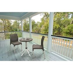 Garden Bistro Set 3Pc Patio Outdoor Small Rattan Dining Coffee Table 2 Chairs