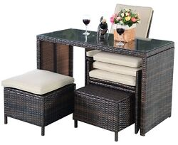 Patio Table Chairs Set Outdoor Rattan Garden Furniture Cushion Dining Bistro New