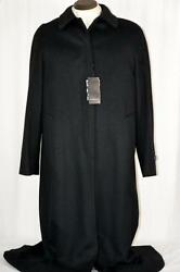 NWT $2200 Burberry London *Italy* 100% Cashmere Black Full Length Coat Sz 12