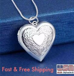 925 Sterling Silver Heart Necklace Locket Photo Picture Pendant 18