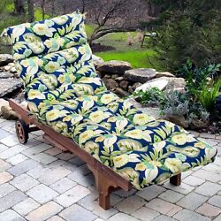 Lounge Chair Cushion Outdoor Seat Padding Tufted Mattress Patio Deck Pool Chaise