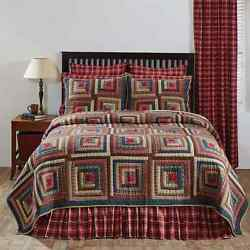 4-pc BRAXTON Queen Quilt Shams Star Accessory Log Cabin Block Patchwork Bed Set
