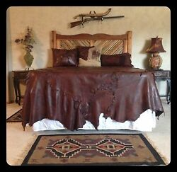 Western bedspread Leather cowboy decor Bronc Rider Rodeo Bedspread Bedding Q