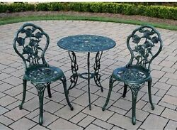 Patio Dining Set Furniture Bistro 3 Pc. Green Outdoor Chairs Table Iron Dinette