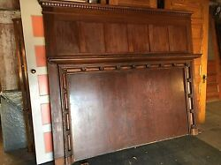 HUGE Antique Mahogany FIREPLACE MANTEL  7.7 Ft W 6.6 H Queen Headboard