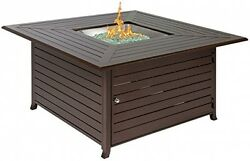 Extruded Aluminum Gas Outdoor Fire Pit Table With Cover Fireplace Heater New