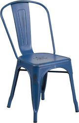 (20 PACK)Industrial Style Antique Blue Metal Restaurant Chair For Indoor-Outdoor