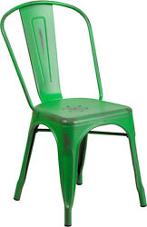 (20 PACK) Industrial Style Antique Green Metal Restaurant Chair For Outdoor