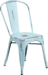 (20 PACK) Industrial Style Antique Green Blue Metal Restaurant Chair For Outdoor