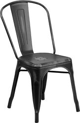 (20 PACK) Industrial Style Antique Black Metal Restaurant Chair For Outdoor