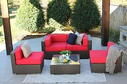 5pc All Weather Patio Outdoor Sectional Sofa Furniture Rattan Wicker NEW