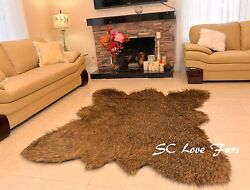 5x6 Grizzly Cali Bearskin Faux Fur Area Rugs Christmas Cottage Decor