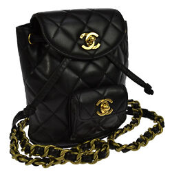 Authentic CHANEL CC Quilted Chain Backpack Black Leather Vintage GHW SN01138