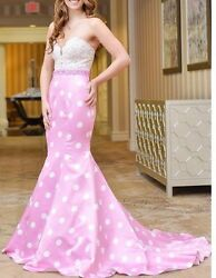 Sexy Pink dots Beaded Lace Train Long Prom Dress Pageant Gown  0-14  $169.00