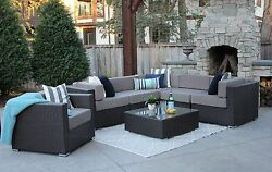 7PC Grant All Weather Patio Outdoor Sectional Sofa Furniture Rattan Wicker