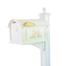 Balmoral Mailbox Side Plaques Monogram & Post Package- White