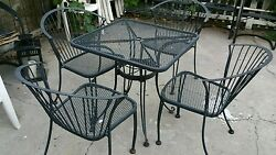5 pc  cast iron patio furniture set beautiful table 4 matching chairs