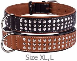 Studded Dog Collar Leather Dog Collars for Small Medium Large Puppy Soft Padded $26.99