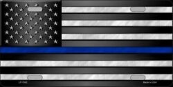 THIN BLUE LINE POLICE METAL NOVELTY CAR LICENSE PLATE TAG AMERICAN FLAG $9.43