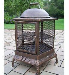 Oakland Living 24-in W Antique Bronze Cast Iron Wood-Burning Fire Pit Outdoor