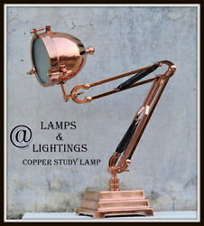 FABULOUS FRENCH ART DECO ANTIQUE MODERNIST COPPER AND GLASS LAMP  LAMPE