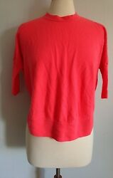 J. CREW~CORAL 100% MERINO WOOL 34 SLEEVE CROPPED FASHION  SWEATER SIZE SMALL