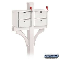 Two (2) Roadside Mailboxes - with 2-Sided Deluxe Post for (2) Mailboxes - White