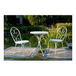 Patio Table and Chairs Bistro Set White 3 Piece Balcony Outdoor Small Space Iron