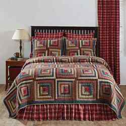 4-pc BRAXTON Cal King Quilt Shams Bed Skirt Hand Quilted Log Cabin Block Bed Set