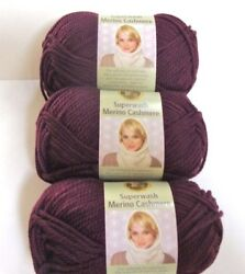 Purple #189 Wine Lion Brand Yarn Superwash Merino Cashmere 3 Skeins=261 Yards