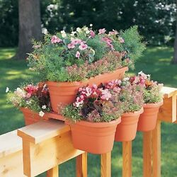 Deck Rail Planter 4 PC Set Oval Patio Porch Flower Pot Box Outdoor Garden Decor