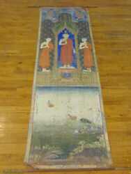 RARE ANTIQUE CHINESE PALATIAL SIZE HAND PAINTED WALL HANGING OF BUDDHA ON SILK