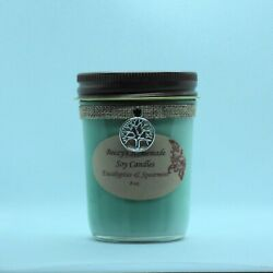 8 oz. Eucalyptus amp; Spearmint Hand Poured Natural Soy Cotton Wick Green Candle $14.00